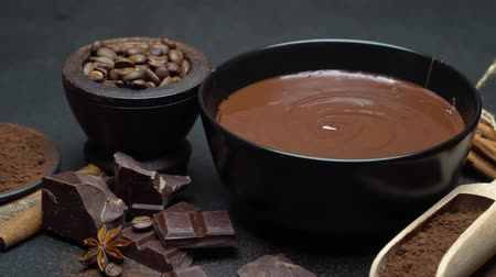 caloric : ceramic bowl of chocolate cream or melted chocolate and pieces of chocolate