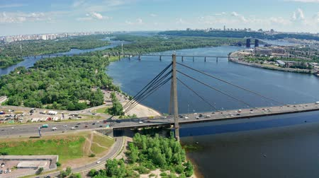kijev : Aerial view of North Bridge in Kyiv Ukraine at sunny summer day