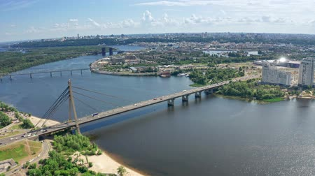 Aerial view of North Bridge in Kyiv Ukraine at sunny summer day