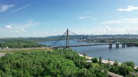 kiev : Aerial view of North Bridge in Kyiv Ukraine at sunny summer day