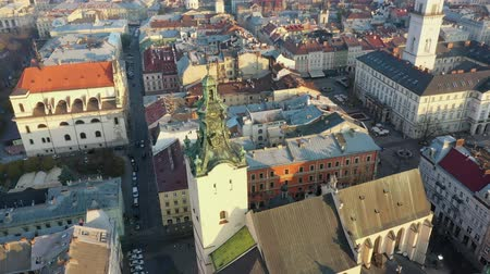 Aerial video of Saint Maria Church in central part of old city of Lviv, Ukraine Stock Footage
