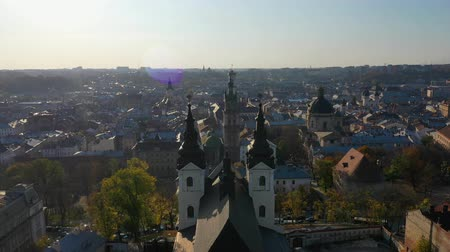 Aerial video of Saint Mikhail Church in in central part of old city of Lviv, Ukraine Stock Footage