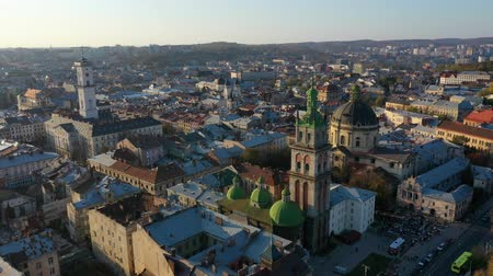 Aerial video of Uspinska Church in in central part of old city of Lviv, Ukraine