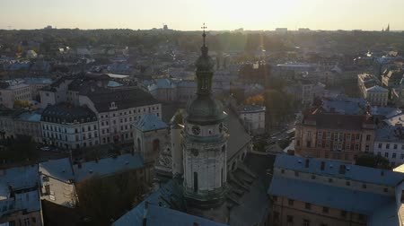 Aerial video of Church in central part of old city of Lviv, Ukraine Stock Footage