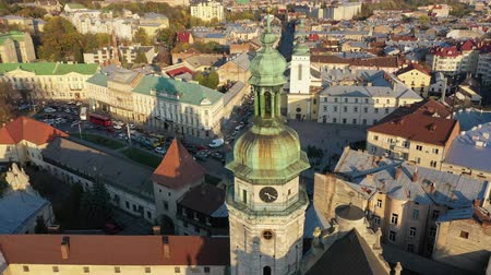 lviv : Aerial video of Church in central part of old city of Lviv, Ukraine Stock Footage