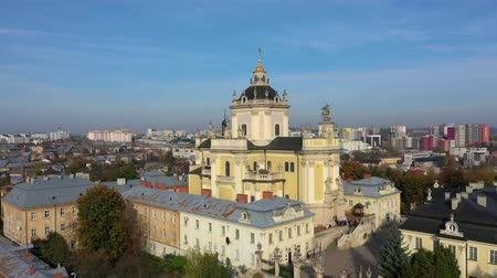 lviv : Aerial video of Saint Yura Church in central part of old city of Lviv, Ukraine