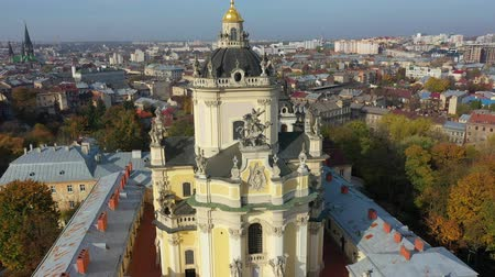 юра : Aerial video of Saint Yura Church in central part of old city of Lviv, Ukraine