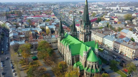 купол : Aerial video of Saint Olga and Elizaveta Church in central part of old city of Lviv, Ukraine
