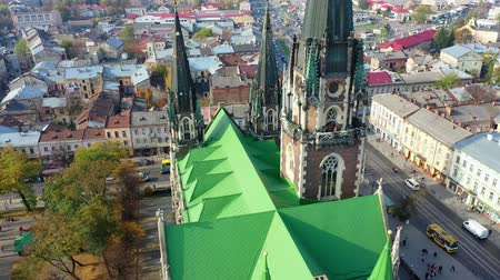 юра : Aerial video of Saint Olga and Elizaveta Church in central part of old city of Lviv, Ukraine