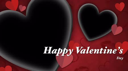 Animation Red heart paper cut with black space and text Happy Valentines day . Archivo de Video