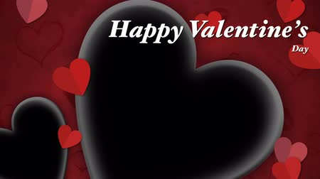 Animation Red heart paper cut with black space and text Happy Valentines day . Dostupné videozáznamy