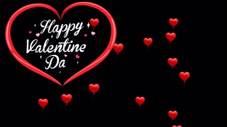 caligrafia : Animation Text Happy Valentine's Day in red heart with red heart background. Stock Footage