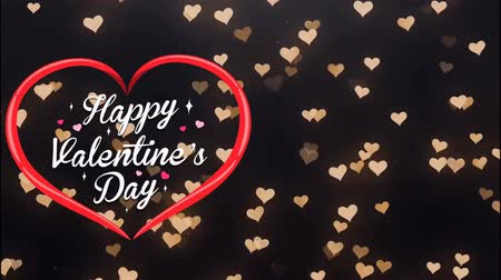 Animation Text Happy Valentine's Day in red heart with golden heart bokeh background. Dostupné videozáznamy