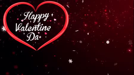Animation Text Happy Valentine's Day in red heart with red sparkle background.