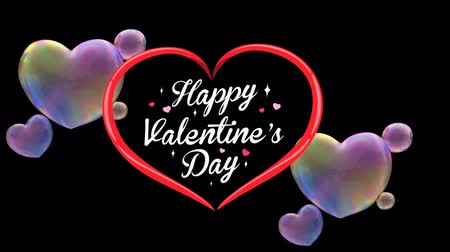 Animation Text Happy Valentine's Day in red heart with colorful heart shape bubble on black background.