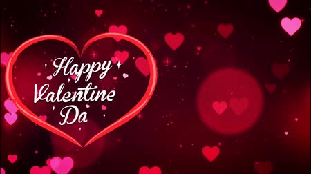 Animation Text Happy Valentine's Day in red heart with red heart bokeh background.