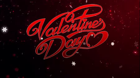 Animation red Text Valentine Day with red sparkle background. Dostupné videozáznamy
