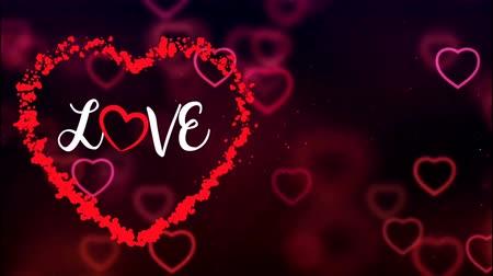 Animation Text LOVE in red heart with red heart background. Dostupné videozáznamy