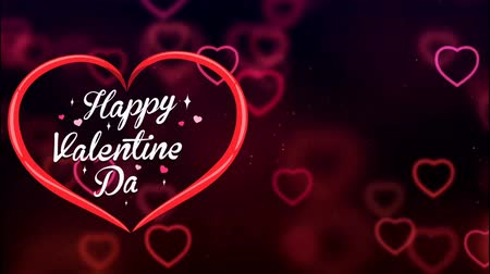Animation Text Happy Valentine's Day in red heart with red heart bokeh background. Dostupné videozáznamy
