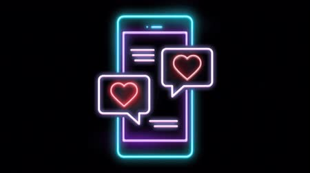 Animation Neon light Telephone shape with Red neon light heart shape.