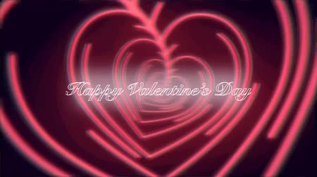 Animation heart shaped Neon light colorful with Text Happy Valentines day. Dostupné videozáznamy