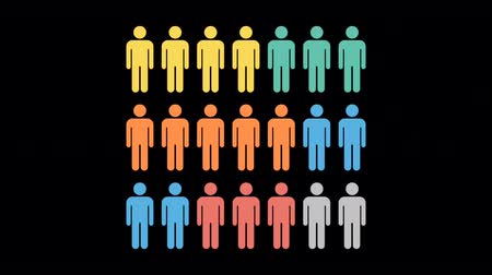 Animation Colorful Many Men People Person on black background.