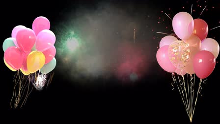 Animation colorful balloon with firework background.