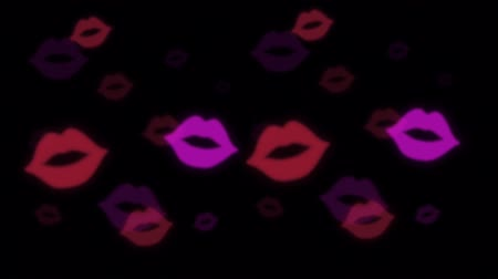 Animation red and purple Lipstick marks on black background.