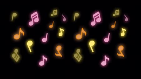 Animation colorful Music notes on black background. Dostupné videozáznamy