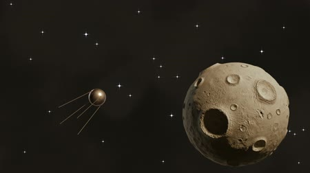 Sputnik flying in space near a large asteroid