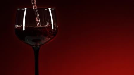 kırmızı şarap : Red Wine Pour Medium. a medium shot of an empty wine glass being filled up with red wine in slow motion against a redblack backdrop Stok Video