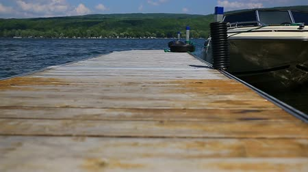 selektif : Dock Dolly Slow. a left and right dolly of a residential dock with a boat tethered to the end. slow motion