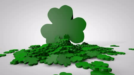jetel : Shamrocks Falling on White. A single small shamrock falls and is followed by many more. A large shamrock falls on to the pile at the end.  Luma matte to isolate smaller shamrocks and drop your own object on to the pile