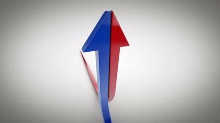 razem : Rising Half Arrows Converge Together. Two half arrows, blue and red,come together and rise up. business positive. camera rotates around. Luma matte for easy isolation of both arrows.