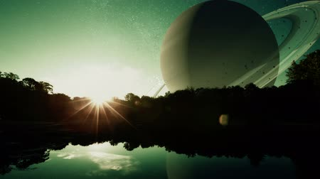 planeta : Fantasy Planet Sunrise. a fantasy sci-fi scene of the sun rising on a distant planet with water.