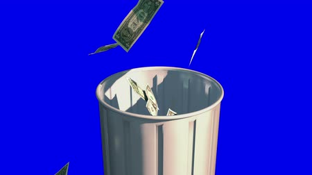 lixeira : Money Falling in Garbage Can. garbage can rotates as dollar bills fall into it. with luma matte for isolation Stock Footage