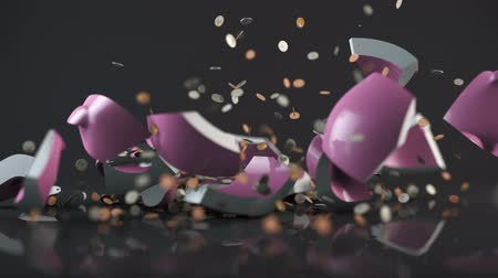 bank : Piggy Bank Falls and Breaks. a piggy bank falls and breaks open. explodes coins everywhere. with luma matte for isolation Stock Footage