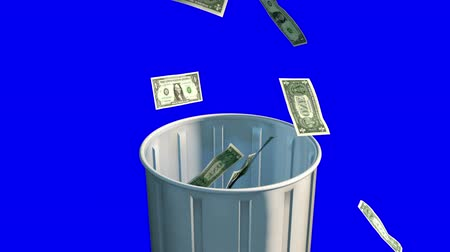 lixeira : Money Fall in Trash Can. Camera rises up as money falls into trash can on a blue background. luma matte for easy isolation