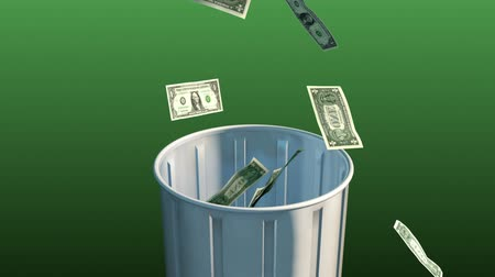 lixeira : Money Fall in Trash Can. Camera rises up as money falls into trash can on a green background. luma matte for easy isolation
