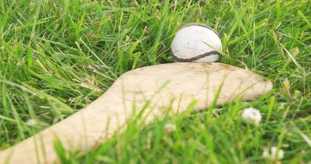 tradição : Hurley and Ball Close Up. camera dollies right on a close up of an irish hurley and sliotar in a grass field