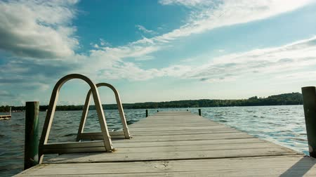 prkna : Lake Dock with Ladder Pull Back and Move Forward. camera moves backward and forward on a residential lake dock with a ladder during a sunny summer day.