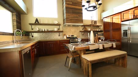 konyhai : Rising Shot of a Modern Dining Room Kitchen. an industrial modern feel in this interior kitchen and dining room combination