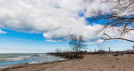 Онтарио : Lake Ontario Shore Time Lapse Panning Left. a time lapse pans left on the shore of Lake Ontario during a chilly spring day Стоковые видеозаписи
