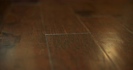 Пол : Hardwood Floor Detail Close Up Move. camera moves left on a close up shallow depth of field shot of dark brown hardwood floors in a home