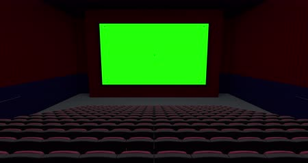 filmes : Empty Theater Move Away from the Screen Transition. shot moves away from the screen towards the back row of seats in a movie theater looking at a green screen with tracking marks. Luma matte supplied for easy isolation