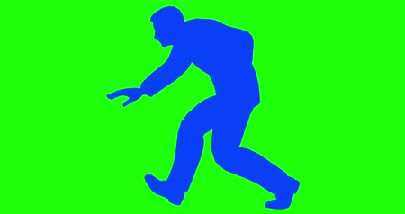 investigador : Male Silhouette Crouched Sneaking Loop Walk. a silhouette man crouched slowly walking sneakily towards something in a loop Stock Footage