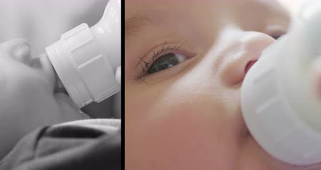 раскол : Baby Bottle Feeding Split Screen Slow Motion. split screen slow motion close up of a 3 month old baby feeding from a bottle. Left is black and white profile and right side is color close up of face