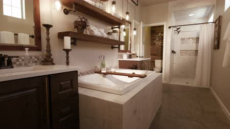 kabine : Master Bathroom Rise From Floor. rising shot in a modern master bathroom with a rustic industrial style