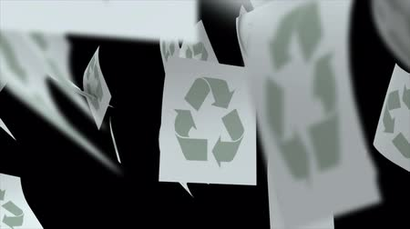 объекты : Paper Falls with Recycle Symbol Transition. individual paper sheets fall and spin in slow motion with luma matte for isolation