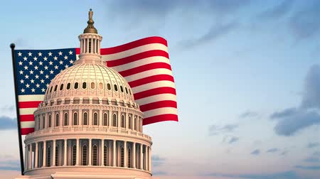 united states : Capital Building Spin with Flag Animation. animation of the top of the United States Capital Building with a flag behind waving left justified on clouds background. Luma matte for isolation Stock Footage